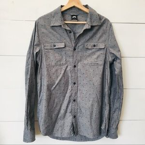 NIKE SB Organic Cotton Gray Button Shirt MED EUC